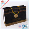 Black Luxury Shopping Carrier Paper Bags with Golden Twisted Handle