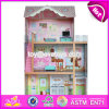 Best Design Luxurious Three Floors Wooden Kids Modern Dollhouse with Furniture W06A247