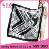 Black Square Real Silk Scarf for Women