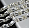 Clear with Silver Crystal 1.5cm Width Fancy Bridal Dress Belt Trim Wedding Cake Banding Rhinestone Wedding Banding (TS-048)