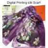 2017 High Quality Digital Printing Shawls Fashion Lady Silk Scarf