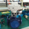 Modulating Electric Actuated 3-Way Carbon Steel Flange Ball Valve