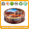 Round Embossed Cookies Tin Box for Metal Food Storage Packaging