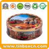 Round Embossed Cookies Tin Box for Metal Food Storage Packaging