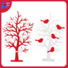 Wooden Table Decor with Birds and Tree Design