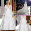 Lace Long Sleeve V-Neck A-Line Court Train Bridal Wedding Dresses H5211
