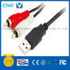 USB 2.0 a Male to 2 RCA Plugs Cable for Printer