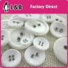White Resin Button with Metal Eyelet