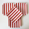 "Disposable Square 7"" Red Striped Paper Plates for Party"