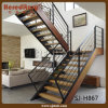 Classical Double Stringer Mild Steel L Shape Staircase (SJ-H867)