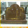 Chinese Upright Companion Headstones with Sandblasted Lotus Flower