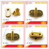 Fake Gold Metal Oval Turn Lock Set for Wallet Bag Hardware
