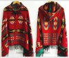 Lady′s Winter Warm Star Jacquard Cape/Shawl with Retro National Style (H22)