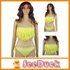 Frauen-Troddel-Büstenhalter-Badeanzug-Badebekleidungbeachwear-Gelb-reizvoller Bikini (KS610105)