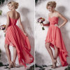 Coral Pleated Chiffon High Low Bridesmaid Dresses (TM-BD016)