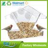 Casa plástica acrílica incomun do alimentador do pássaro do indicador com copos da sução