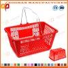 Panier portatif en plastique de chariot à achats de supermarché coloré avec les traitements (Zhb116)