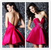 2014 SpitzenSale Sexy Fuchsia trägerloses Crystals Ruched Backless Short Taffeta Real Pictures von Cocktail Dress