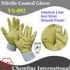 Блокировка перчатка с желтой Nitrile Полный покрытия и вязать запястья / EN388: 4111 / Размер 7 , 8, 9 , 10 (YS-092)