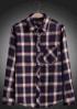 Chemise Checkered de longue chemise de la couleur rouge des hommes