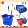 A cesta de compra plástica do punho do supermercado com rolamento roda (Zhb77)