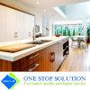 Kundenspezifischer Mähdrescher-goldenes Furnier-Blatt und weiße Lack-Ende-Küche-Schrank-Möbel (ZY 1063)