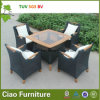 Hotel Rattan Material Outdoor Furniture Wicker Chair Table com Teakwood