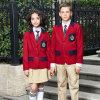 Pannello esterno di griglia della giacca sportiva dei capretti di abitudine e uniforme scolastico rossi della mutanda
