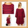 Длиннее платье халата печати проверки втулки 2014 для повелительницы (HSL109)