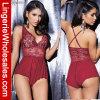 Ropa interior atractiva del cordón de las mujeres de la ropa interior roja del V-Cuello