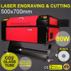 tela 700*500mm da cor da máquina de estaca da gravura do gravador do laser do CO2 80W