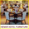 現代レストランの食堂の家具は灰色ファブリック椅子および正方形表をセットする