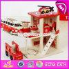 Caserne de pompiers en bois de jouet de stationnement de nouveaux produits de garçons drôles de jouet W04b030