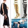 2015 zapatos plateados negros de oro del alto talón del diseño único. Sandalias del verano del cuero genuino. Cargadores del programa inicial atractivos de las mujeres (S-110)