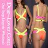 Maillot de bain jaune de bikini de bloc de couleur de bandage