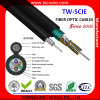 Cabo de fibra óptica aéreo Self-Supporting da manutenção programada do fio de aço do núcleo de Gytc8s 36