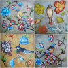 Flowers e Birds coloridos Decorative Art Wall Painting (LH-116000)