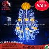 LED 2.5m PVC Amarelo Esfera Motif Rope Luz de Natal para decoração ao ar livre