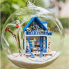 2017ガラス玉が付いている普及したDIYの木のおもちゃの人形Hosue