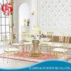 Table de salle à manger ronde en acier inoxydable dorée