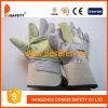 Усиленная перчатка зеленой кожаный подкладки тумака задней части хлопка ладони белой прорезиновой половинной кожаный (DLC322)