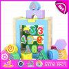 Da forma de madeira educacional dos blocos dos miúdos os brinquedos colorimétricos, brinquedo de harmonização de madeira do bloco das crianças para aprendem os números W12D030