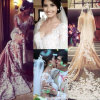 Vestido de casamento longo H146250 da sereia do laço de Veneza do Applique de Champagne Tulle das luvas