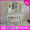 Novo e Popular White Wooden Dressing Table com Mirror e Stool W08h021
