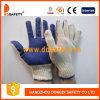 Natürliche Polyester Zeichenkette gestrickter blauer Belüftung-Arbeits-Handschuh Dkp145