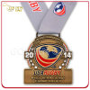 ラグビー選手権の骨董品の黄銅によってめっきされる柔らかいエナメルメダル