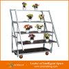 表示花のトロリーカート。 デンマークのトロリー。 園芸輸送のカート、鋼鉄圧延のトロリー