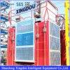 Elevador elétrico do edifício da grua da freqüência com gaiola dobro