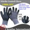 Нейлон трикотажные перчатки с ультра-тонкий нитрил пены покрытием и крест-накрест ладони и упругой манжеты