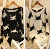 2014年のセーターのWomen Pullover Lovely Cat Pattern Hole Design Women Hollow Pullovers Sweater Women